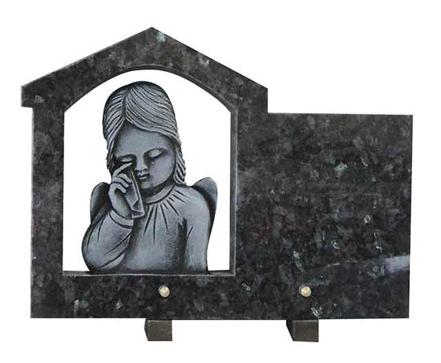Blue Pearl Granite Funeral Plaque with Weeping Little Angel Carvings