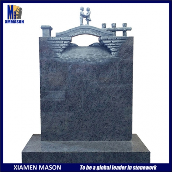 Bahama Blue Granite Tombstone for Two Persons