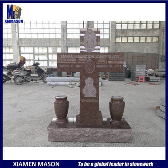 Cross Gravestone with Jesus Image