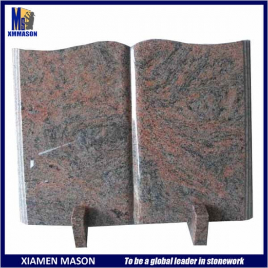 Red Granite Open Book Tombstone