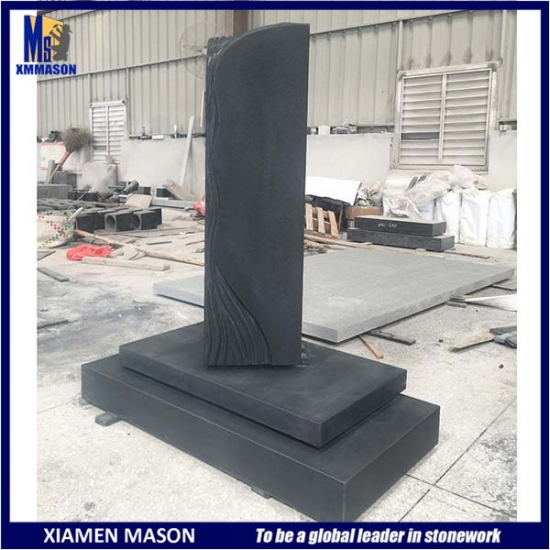 Black Granite Headstone with Unusual Design